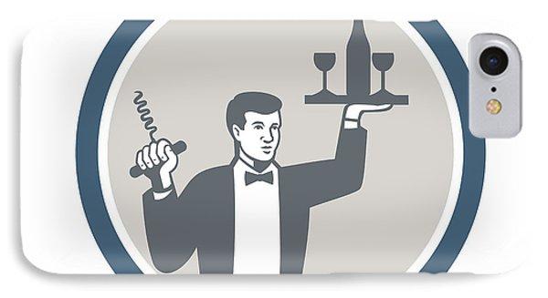 Waiter Serving Wine Bottle On Platter Retro IPhone Case