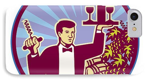 Waiter Serving Wine Glass Bottle Retro IPhone Case