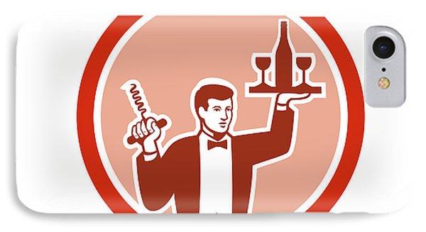 Waiter Serving Wine Holding Corkscrew Retro IPhone Case
