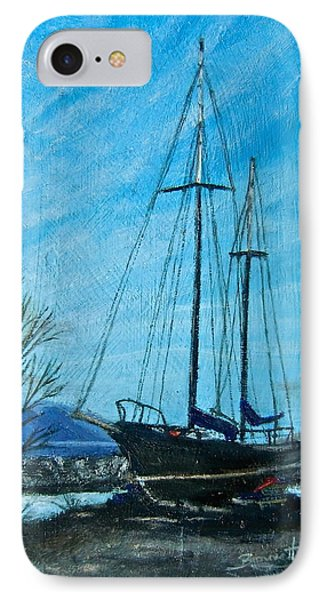 IPhone Case featuring the painting Waiting For Springtime. by Bonnie Heather