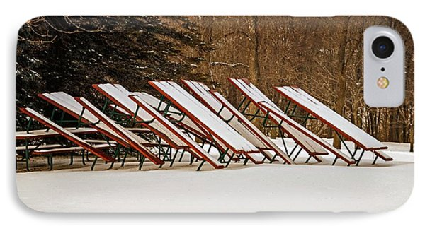 Waiting For Summer - Picnic Tables Phone Case by Mary Machare
