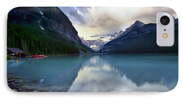 Waiting For Sunrise At Lake Louise Phone Case by Teresa Zieba