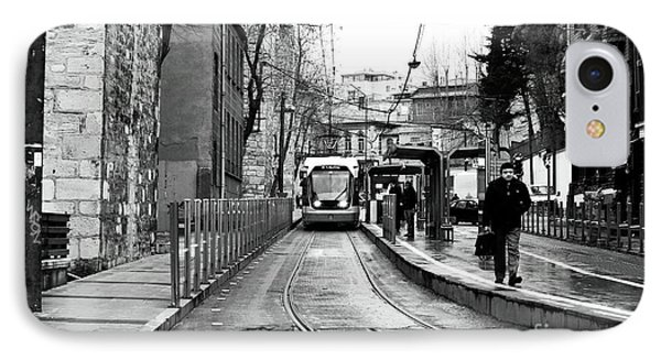 Waiting For The Tram In Istanbul Phone Case by John Rizzuto