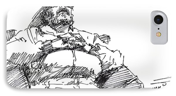 Waiting Room Nap Sketch IPhone Case by Ylli Haruni
