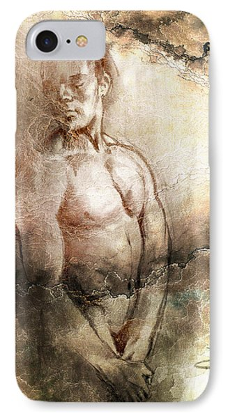IPhone Case featuring the drawing Waiting With Mood Texture by Paul Davenport