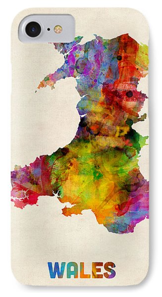 Wales Watercolor Map IPhone Case
