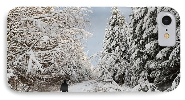 Walk In The Winterly Forest With Lots Of Snow Phone Case by Matthias Hauser