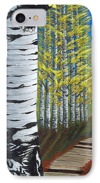 Walk Through Aspens Triptych 1 IPhone Case by Rebecca Parker
