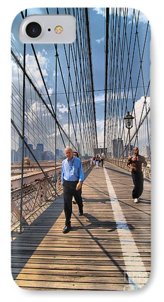 Walkers And Joggers On The Brooklyn Bridge IPhone Case