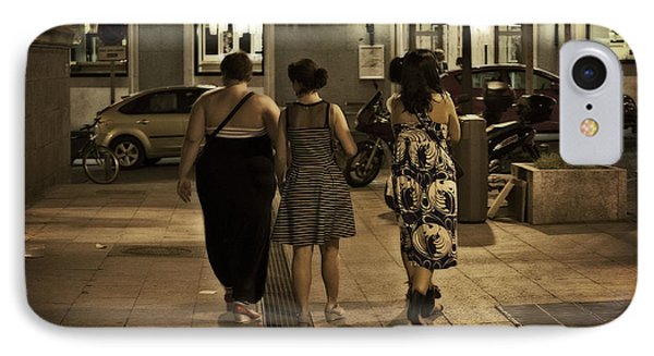 Walking At Night - Madrid Spain Phone Case by Mary Machare