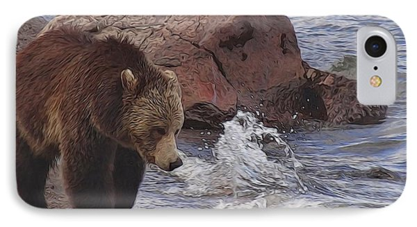 Walking Grizzly Bear On Lakeshore IPhone Case