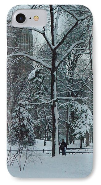 IPhone Case featuring the photograph Walking In Snowy Central Park At Dusk by Winifred Butler