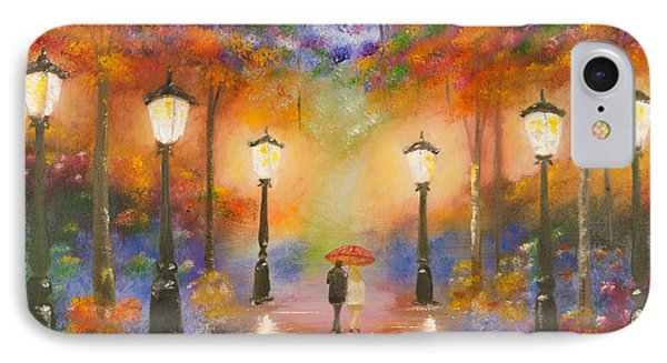IPhone Case featuring the painting Walking In The Rain by Chris Fraser