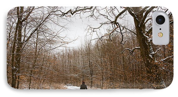 Walking In The Winterly Woodland Phone Case by Matthias Hauser