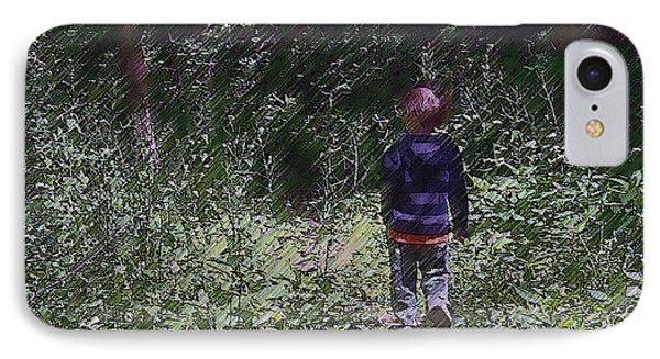 Boy Walking Into The Woods IPhone Case by Ellen Tully
