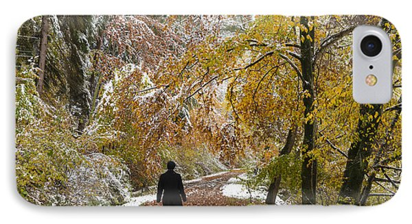 Walking Into Winter - Beautiful Autumnal Trees And The First Snow Of The Year Phone Case by Matthias Hauser