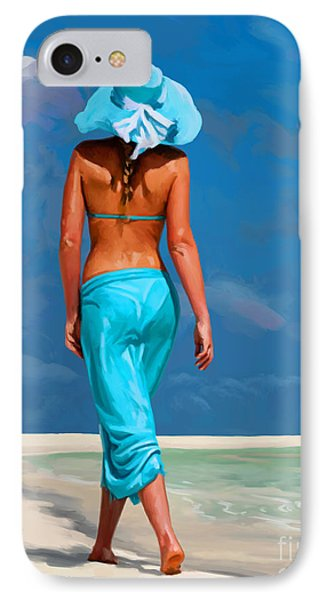 walking on the beach V IPhone Case by Tim Gilliland