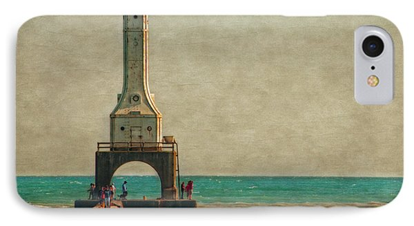 Walking On The Breakwater IPhone Case by Mary Machare