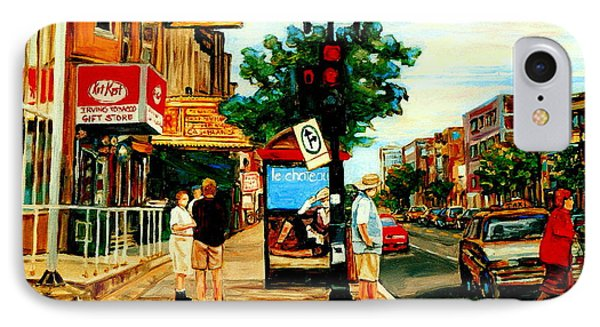 Walking Past Rialto And The Kit Kat Gift Shop Towards Pascals On Blvd. Park Avenue Montreal Scenes Phone Case by Carole Spandau