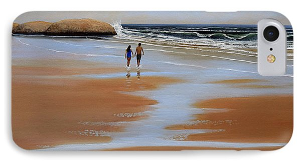 Walking The Beach IPhone Case by Frank Wilson