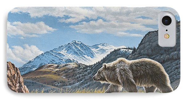 Walking The Ridge - Grizzly IPhone Case by Paul Krapf