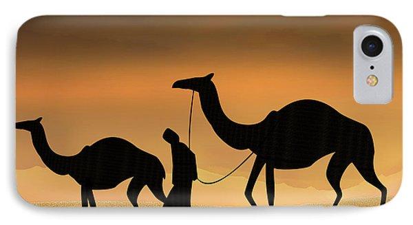 Walking The Sahara IPhone Case by Bedros Awak