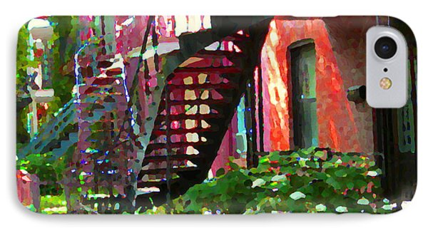 Walking Verdun Spiral Staircases Graceful Circular Steps Montreal Colorful Scenes Carole Spandau  IPhone Case by Carole Spandau