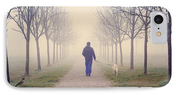 Walking With The Dog IPhone Case by Alfio Finocchiaro