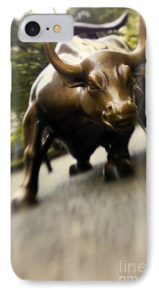 Wall Street Bull IPhone Case by Tony Cordoza