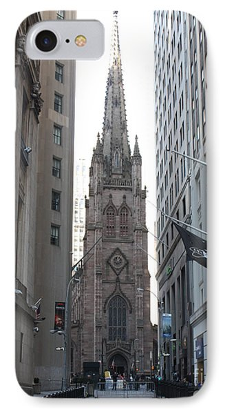 Wall Street Leading To Trinity Church IPhone Case by John Telfer