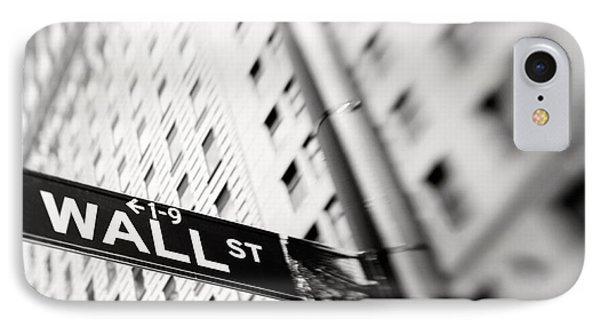 Wall Street Street Sign IPhone Case by Tony Cordoza