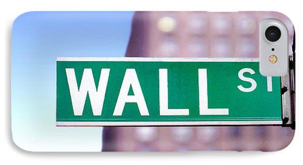 Wall Street Street Sign IPhone Case by Wernher Krutein