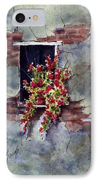 Wall With Red Flowers Phone Case by Sam Sidders