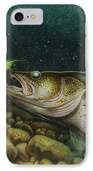Walleye And Crank Bait IPhone Case by Jon Q Wright