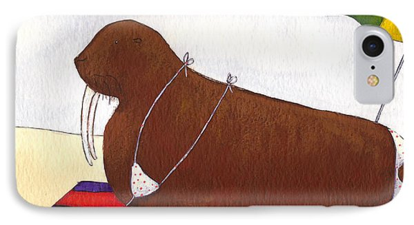 Walrus At The Beach IPhone Case by Christy Beckwith