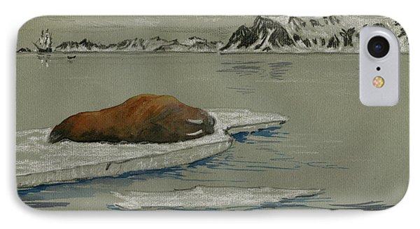 Walrus On The Iceberg IPhone Case by Juan  Bosco