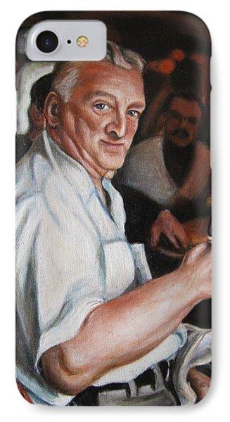 IPhone Case featuring the painting Walter At Eddies Bar by Melinda Saminski