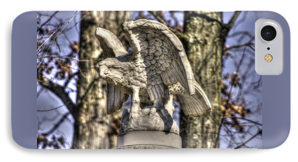 IPhone Case featuring the photograph War Eagles - Vermont Company F 1st U. S. Sharpshooters-a1 Pitzer Woods Gettysburg by Michael Mazaika
