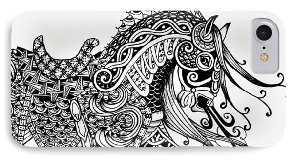 War Horse - Zentangle IPhone Case by Jani Freimann