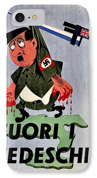 War Poster - Ww2 - Out With The Fuhrer Phone Case by Benjamin Yeager