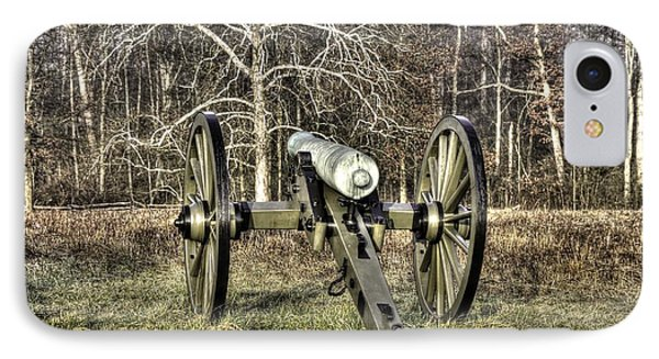 IPhone Case featuring the photograph War Thunder - 1st New York Light Artillery-a2 Battery D The Wheatfield Late Winter Gettysburg by Michael Mazaika