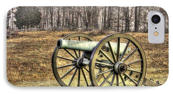 IPhone Case featuring the photograph War Thunder - 1st New York Light Artillery-b1 Battery D The Wheatfield Late Winter Gettysburg by Michael Mazaika