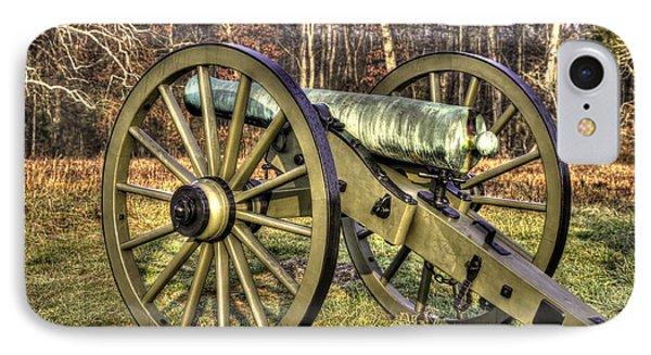 IPhone Case featuring the photograph War Thunder - 1st New York Light Artillery-c2 Battery D The Wheatfield Late Winter Gettysburg by Michael Mazaika