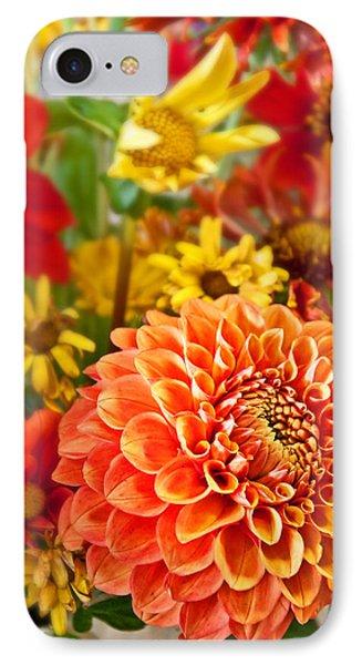 Warm Colored Flower Bouquet With Round Dahlia Phone Case by Valerie Garner