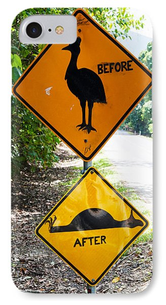 Warning Sign At The Roadside, Cape IPhone Case by Panoramic Images