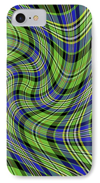 IPhone Case featuring the digital art Warped Scott Ancient Green Tartan by Gregory Scott