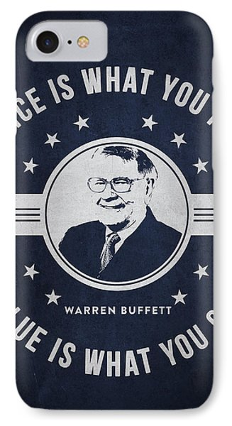 Warren Buffet - Navy Blue IPhone Case by Aged Pixel
