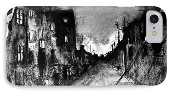 IPhone Case featuring the drawing Warsaw Ghetto 1945 by Maja Sokolowska