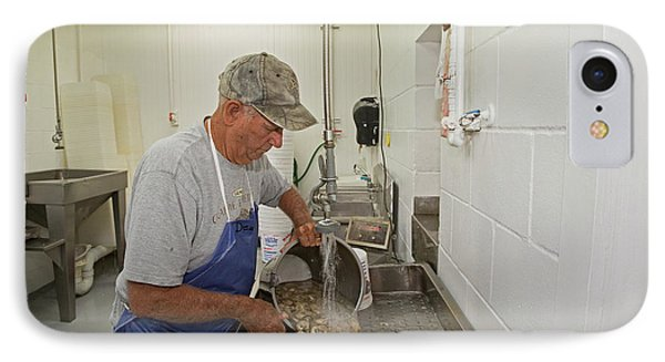 Washing Processed Oysters IPhone Case by Jim West