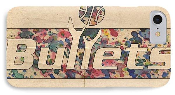Washington Bullets Retro Poster Phone Case by Florian Rodarte